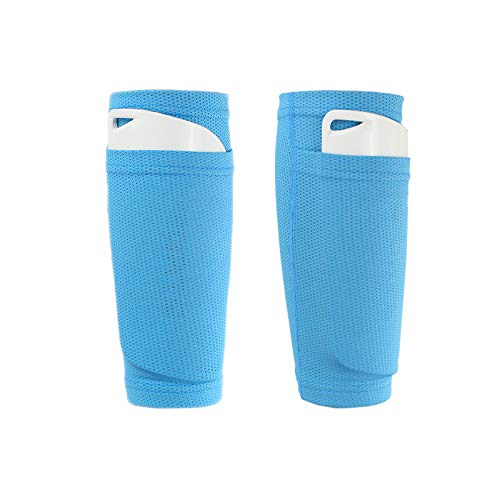 QEES Soccer Shin Guard Socks Classic Shin Guard Sleeves, Compression Calf Sleeves can Put Shin Pads(Not Include) Resistant Comfort Breathable for The Beginner or Elite Athlete WZ19 (Blue, Adults)