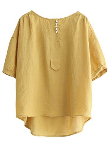 Minibee Women's Hi-low Tunics Blouse Loose Linen Shirt Tops L ()