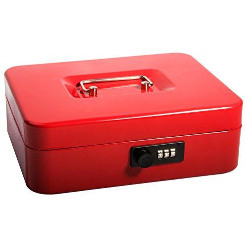 (Safe Cash Box with Combination Lock, Decaller Medium Double Layer Cash Box with Money Tray Locking Storage Box, 9 4/5