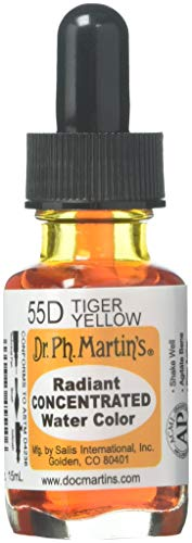 Dr. Ph. Martin's Radiant Concentrated Water Color (55D) Watercolor Bottle, 0.5 oz, Tiger Yellow, 1 Bottle