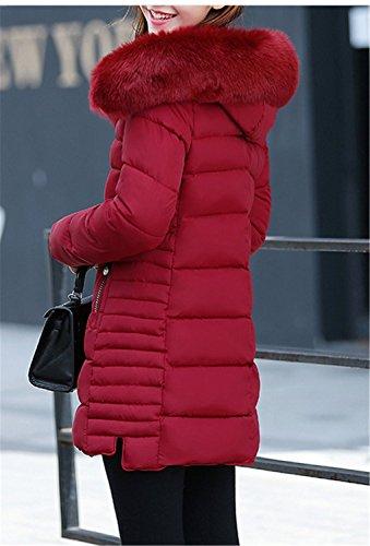 YOGLY Invierno Chaquetas con Down Invierno de Plumas Cálido Chaquetas Mujeres Capucha Abajo Rojo Moda Medio Abrigos Largas de de de Chaqueta Coat RTTEqrwY