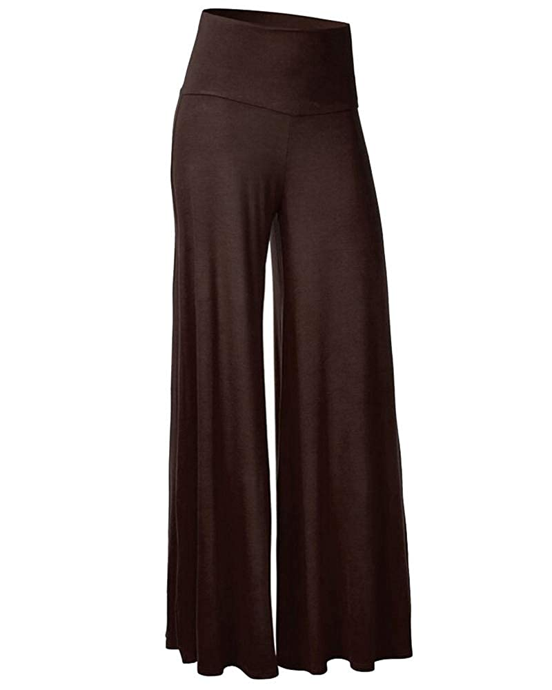 GUOCU Women's Elegant High Waist Palazzo Trousers Yoga Gym Sport Wide Leg Bootleg Pant Solid Color Baggy Long Pants
