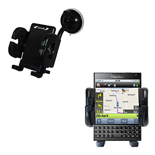 Gomadic Brand Flexible Car Auto Windshield Holder Mount designed for the Blackberry Passport - Gooseneck Suction Cup Style Cradle