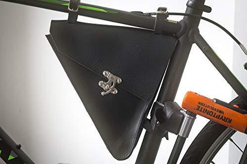 (London Craftwork Large Leather Frame Bag for Bicycle Bike in Black Handcrafted Leather 24 x 27 x 26 x 4.5 cm L-TRIGL-BL )