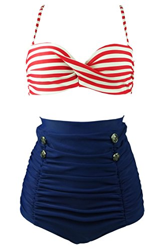 COCOSHIP Red White Stripe & Navy Blue High Waisted Bikini Buttons Vintage Bathing Suit Ruched Swimwear XXL(FBA)
