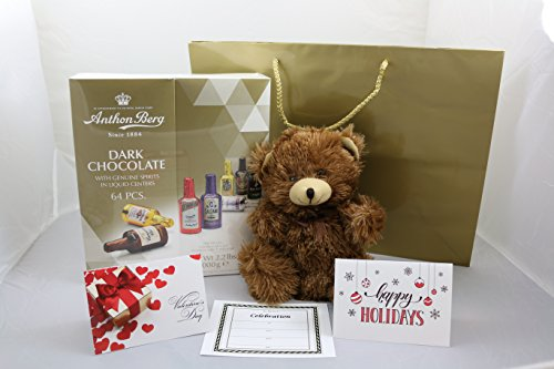 AnthonBerg Dark Chocolate w/Genuine Spirits in Liquid Centers Bundle-Luscious Dark Chocolate Confection(64), Stuffed Bear(1), Gift Bag(1), Red, Gold & White Greeting Card, Gold/Black Invitation(1)