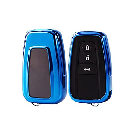 iJDMTOY Chrome Finish Blue TPU Key Fob Protective Case w// Button Cover Compatible With 2017//2018-up Toyota Camry Prius Prime Mirai C-HR etc w// Push Start Engine Feature