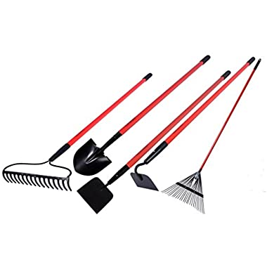 Garden All Garden Tools Kit - Include Round Point Shovel /12 Guage Garden Hoe / Bow Rake / Steel Rake / Gden Cultivator with Fiberglass Handle - Five Pieces - Super Special Offers