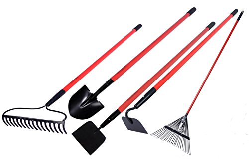 Garden Tool Kit - Round Point Shovel /12 Guage Garden Hoe / Bow Rake / Steel Rake / Gden Cultivator with Fiberglass Handle - Five Pieces - Super Special Offers