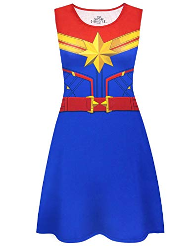 Captain Marvel Costume Women's Superhero Cosplay Dress Ladies Fancy Dress (Large) -