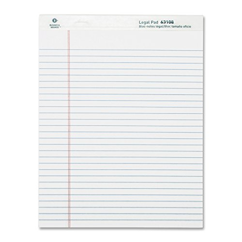 Business Source Ruled Legal Pad - 8.5 x 11 Inches - Pack of 12 Pads of 50 Sheets - White (BSN63108) by Business Source