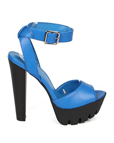 Breckelles CF76 Women Two Tone Peep Toe Ankle Strap Lug Sole Chunky Heel Sandal - Light Blue REfWfAL