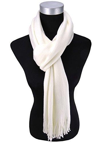 écharpe en crème blanc unicolor avec franges - hiverécharpe taille 30 x 180 cm
