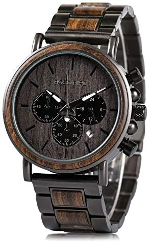 Mens Wooden Watches Business Casual Wristwatches Stylish Ebony Wood & Stainless Steel Combined Chronograph