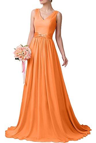 Orange Chiffon Fuchsia Linie Herrlich Braut Ballkleider A Lang Abendkleider La mia Partykleider Brautjungfernkleider If76nq1