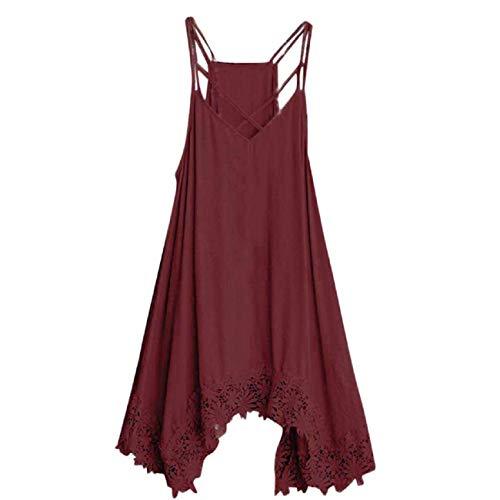 Women's Fashion Summer Shoulder Strap Lace Border Dress,FAPIZI Ladies Casual Sling Plus Size Loose Dress Wine