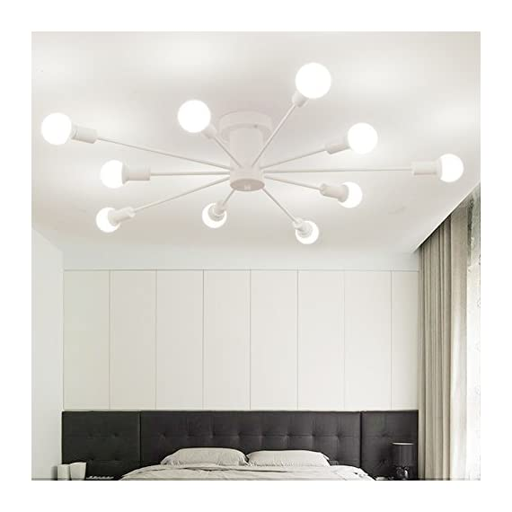 "Aero Snail White Modern Style Flush Mount Designers Metal 10-Light Ceiling Lamp Chandelier Lighting Fixure - Voltage: 110V-120V;Suggested Room Fit: 15-20㎡ Study Room/Office, Kitchen, Dining Room, Bedroom, Hallway, Living Room, Game Room, Entry, Kids Room Fixture Dimensions: H7.9"" x W43"" x L43"" Bulb NOT Included: 10 x E26 x Max 60W per Bulb - kitchen-dining-room-decor, kitchen-dining-room, chandeliers-lighting - 41GyM3oyl5L. SS570  -"