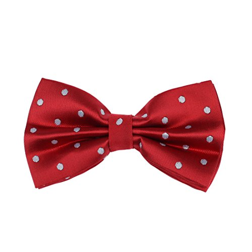 DBD3D01J Dark Red Polka Dots Woven Microfiber Management Gift Pre-tied Bow Tie By Dan Smith (Red Bow Tie)