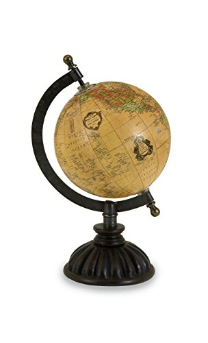 IMAX 5490 Colony Globe - World Globe Map, Globe Stand with Nickel Finish Base, Metallic Globe. Home Decor Accents (Antique Globe With Stand)