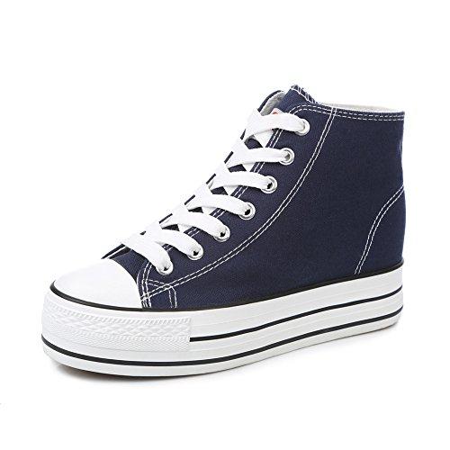 zapatos de lona de mujeres/Zapatos alta minimalistas clásico de otoño/Mayor plataforma de zapatos blancos poco sigilo B