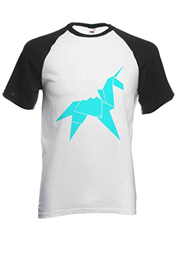 Unisex Origami Unicorn Baseball Raglan Sleeve T Shirt, S to XXL