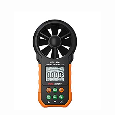 Digital anemometer Multifunction handheld electronic wind speed air flow rate measuring device LCD display Anemometer Tachometer/air flow measurement MS6252A