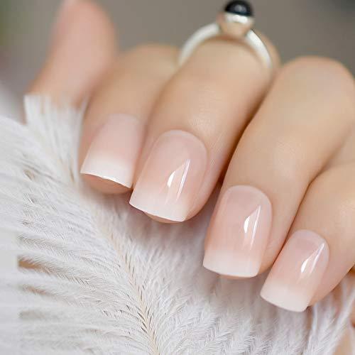 Ombre French Ballerina Fake Nail Gradeint Natural Coffin False Nails Wholesale Nails Supplier 24 Z919