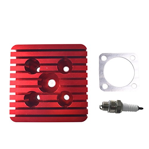 Northtiger Square Red CNC Cylinder Head And A Spark Plug Set For Racing 66cc/80cc Engine Moped ()