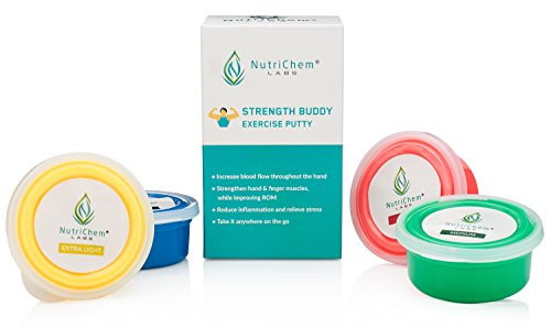 Strength Buddy - Therapy and Exercise Putty for Improved Hand Strength, Flexibility, and Mobility - Theraputty for Physical and Occupational Therapy (3-oz Each)