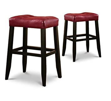 2 29u0026quot; Red Cushion Saddle Back Black Bar Stools  sc 1 st  Amazon.com & Amazon.com: 2 29