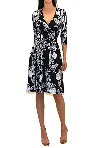 3/4 Sleeve Faux Wrap - Vivicastle Women's Printed V-Neck 3/4 Sleeve Faux Wrap Waist Tie Midi Dress (D11, blk, Medium)