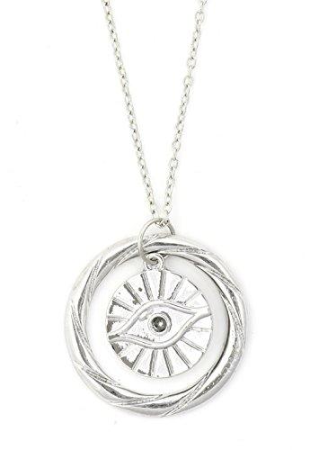 Evil Eye Necklace Amulet Silver Tone NR55 Eyeball Statement Pendant Fashion Jewelry