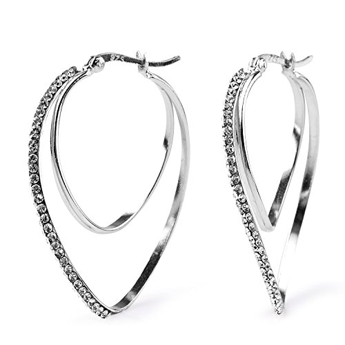blackbox Jewelry Sterling Silver White Crystal Simulated Diamond Double Twist Oval Hoop Earrings - Sterling Silver Double Oval Earrings