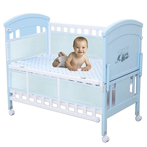 Zicac Breathable Mesh Crib Liner Bumper for Baby Bed Cradle Crib with Rail (Blue) by Zicac