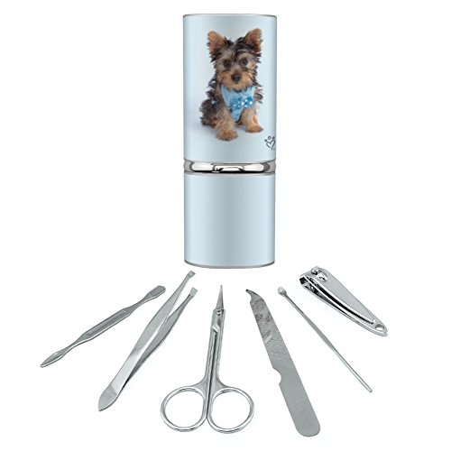Yorkie Yorkshire Terrier Puppy Dog Blue Bow Tie Stainless Steel Manicure...