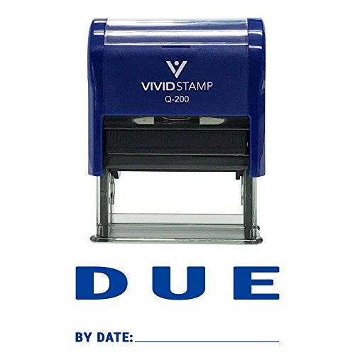 DUE By Date Self Inking Rubber Stamp (Blue Ink) - Medium