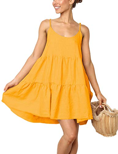 (LOMON Backless Dress for Women Flowy Short Dresses Strap Swing Dress with Bow(Yellow,L))