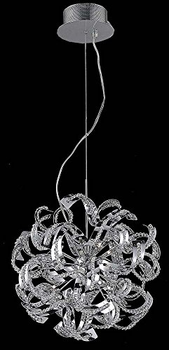 Elegant Lighting Tiffany Collection 13-Light Hanging Fixture with Elegant Cut Crystals, Chrome Finish