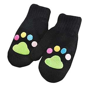 Voberry Infant Baby Boy niñas Lovely línea de invierno manoplas de punto guantes con cadena Cute