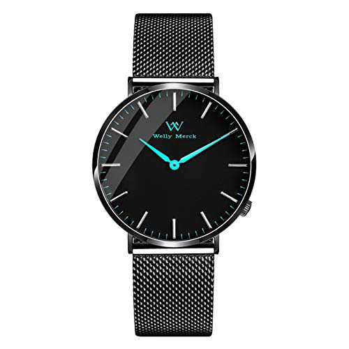 Welly Merck Mens Minimalist Watch Swiss Movement Sapphire Crystal 42mm Blue Sunray Dial Luxury Slim Wrist Watch with Stainless Steel Mesh Band 5ATM Water Resistant
