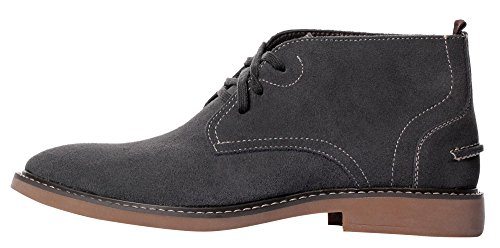 Ujoowalk Hombres Leather Winter Faux Cómodo Con Cordones Desierto Zapato Chukka Botas ... Gris-piel