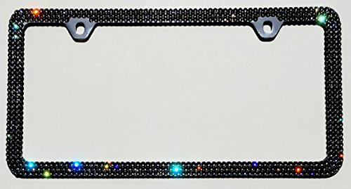 3 Row JET (Black) License Plate Frame 2 Holes Rhinestone Bling made with Swarovski Crystals -  Cool Blingz, SW3Jet20C2H