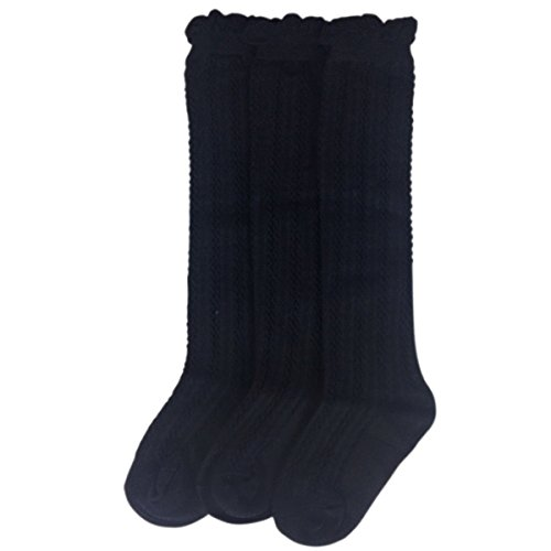 Jastore 5 Pairs/3 Pairs Unisex Baby Girl Boy Lace Stocking Knit Knee High Cotton Socks (1-3 Years, Navy Blue-3 Pairs)