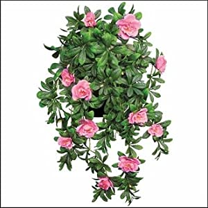 "Windowbox Outdoor Artificial Pink Azalea 34"" Hanging Vine 50"