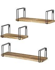 SRIWATANA Rustic Floating Shelves, Wood Wall Shelves Set of 3, Wall Mounted Storage Shelves for Bedroom, Living Room, Kitchen, Bathroom