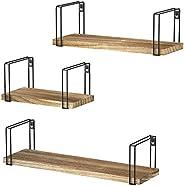 SRIWATANA Rustic Floating Shelves, Wood Wall Shelves Set of 3, Wall Mounted Hanging Shelves for Bedroom, Livin