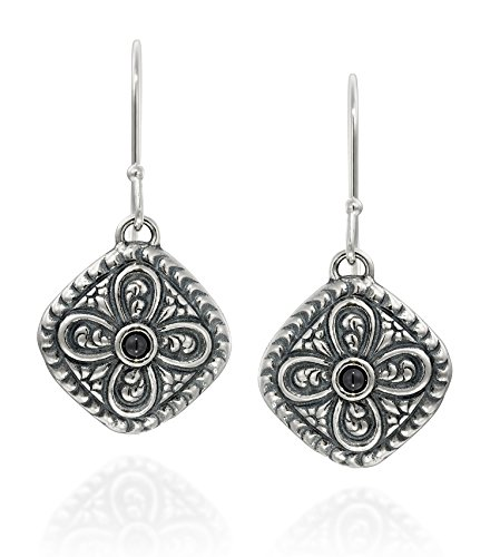Antique Style 925 Sterling Silver Black Onyx Gemstone Earrings Diamond Shaped With Ornate Floral Design - Diamond Shaped Gemstone Ring