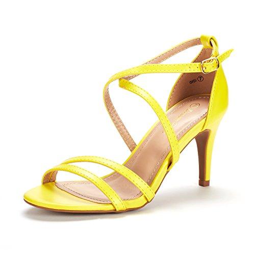 DREAM PAIRS Women's Gigi Yellow Pu Fashion Stilettos Open Toe Pump Heeled Sandals Size 11 B(M) -