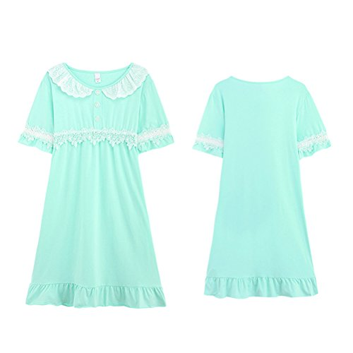Sleepwear Summer sleeves Pajama Short Skirt Zhhlaixing Cotton Sleep Womens Green Comfortable wqSWzY