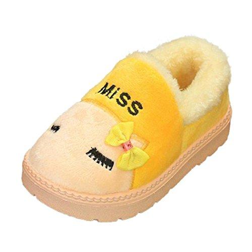 Snow Boots Schuhe Jamicy® Nette Kleinkind Bogen Baby Mädchen Jungen Plüsch Flock PVC Weiche Sohle rutschfeste Warme Samt Schneeschuhe Gelb